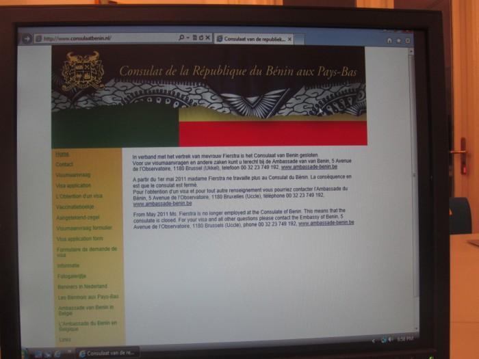 Site internet du nouveau Consulat honoraire du Bénin à La Haye