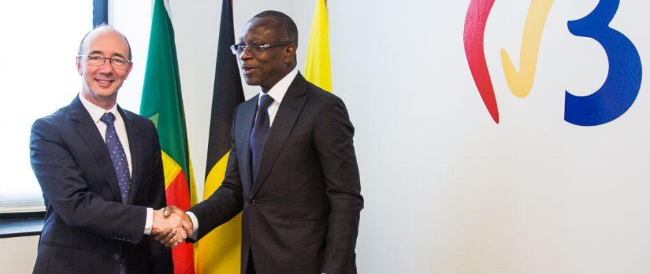 Poignée de main entre le Chef de l'Etat et le Ministre-Président de la Fédération Wallonie-Bruxelles, M. Rudy Demotte